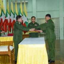 တပ်မတော်ကာကွယ်ရေးဦးစီးချုပ် ဗိုလ်ချုပ်မှူးကြီး မင်းအောင်လှိုင် နိုင်ငံတော်ကာကွယ်ရေးတက္ကသိုလ်၊ သင်တန်းအမှတ်စဉ်(၁၈) သင်တန်းဆင်းပွဲအခမ်းအနားသို့ တက်ရောက်