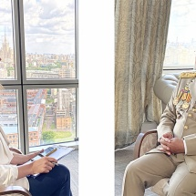 Senior General Min Aung Hlaing holds interview  with Russia Today TV