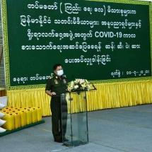 တပ်မတော်(ကြည်း၊ ရေ၊ လေ) မိသားစုများက မြန်မာနိုင်ငံသတင်းမီဒီယာများ၊ အနုပညာ ရှင်များနှင့် ရိုးရာလက်ဝှေ့အဖွဲ့တို့အတွက် COVID-19 ရောဂါဖြစ်ပွားမှုကာလအတွင်း စားသောက်ရေးအဆင်ပြေစေရန် ဆန်၊ ဆီ၊ ပဲ၊ ဆား အမယ်လေးမျိုး ပေးအပ်လှူဒါန်းခြင်းနှင့် Coronavirus Disease 2019(Covid-19) ရောဂါ ကာကွယ်၊ ကုသ၊ ထိန်းချုပ်ရေး ပစ္စည်း များ၊ ဆေးရုံသုံးပစ္စည်းများနှင့် အာဟာရဖြည့် စားသောက်ဖွယ်ရာများပေးအပ်လှူဒါန်းခြင်း(ရုပ်သံသတင်း)