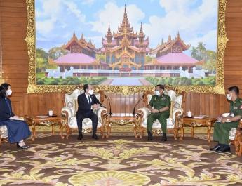 Senior General Min Aung Hlaing receives Ambassador of Japan to Myanmar H.E. Mr. Ichiro MARUYAMA