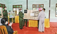 Senior General Min Aung Hlaing meets local ethnic people of Ywangan Township, Danu Self- Administered Zone, and presents books and periodicals for the village library and COVID-19 containment, prevention and treatment aids