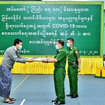 Families of Tatmadaw (Army, Navy and Air) donate four kinds of food items rice, cooking oil, gram and salt  to members of press, artists and traditional boxing organization, for their food safety during the COVID-19 containment period