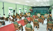 Senior General Min Aung Hlaing attends opening ceremony of new building of basic education high school (branch) (Shangon) in Hmawby Township, presents teaching aids