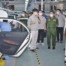 Senior General Min Aung Hlaing inspects Ding Wang snack factory, Gold Aya Motor factory in Mandalay-Myotha Industrial Park in Mandalay Region