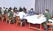 Senior General Min Aung Hlaing inspects Myanma Thargaung War Veterans' Housing (Laydauntkan)