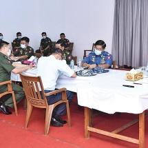 Senior General Min Aung Hlaing inspects Myanma Thargaung War Veterans' Housing (Laydauntkan)