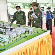 Senior General Min Aung Hlaing inspects tasks of local Defence Services Mechanical Engineering Schools, construction of war veterans' housings in PyinOoLwin