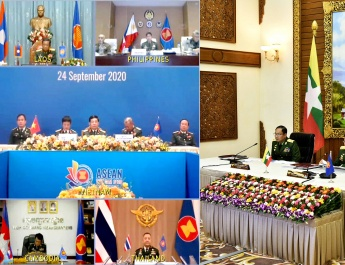 17th ASEAN Chiefs of Defence Forces' Meeting (17th ACDFM) held in the form video conference, Senior General Min Aung Hlaing takes part in the discussions