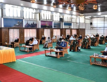 Senior General Min Aung Hlaing meets members of leading bodies of Kokang and Palaung Self-Administered Zones, local ethnic leaders, members of people's militia (local), provides medical supplies for prevention, control and treatment of COVID-19
