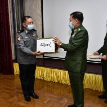 တပ်မတော်ကာကွယ်ရေးဦးစီးချုပ် ဗိုလ်ချုပ်မှူးကြီး မင်းအောင်လှိုင် ရှမ်းပြည်နယ်အတွင်း မူးယစ်ဆေးဝါးတားဆီးနှိမ်နင်းရေးလုပ်ငန်းများကို ထိရောက်စွာဆောင်ရွက် နိုင်ခဲ့ကြသည့် မြန်မာနိုင်ငံရဲတပ်ဖွဲ့ဝင်များအား ဂုဏ်ပြုချီးမြှင့်ငွေများ ပေးအပ်ချီးမြှင့်၊ အရှေ့ပိုင်းတိုင်းစစ်ဌာနချုပ်နယ်မြေအတွင်း တပ်တည်ဆောက်ရေးလုပ်ငန်းဆောင်ရွက်နိုင်မှုနှင့် စွမ်းရည်သုံးရပ်အကောင်အထည်ဖော်ဆောင်နိုင်မှု အခြေအနေများအား စစ်ဆေး(ရုပ်သံသတင်း)