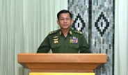 Commander-in-Chief of Defence Services Senior General Min Aung Hlaing delivers an address on the occasion in honour of the 5th Anniversary of signing Nationwide Ceasefire Agreement (NCA)