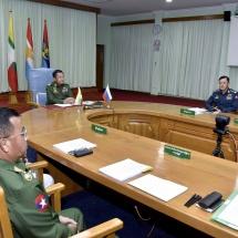 တပ်မတော်ကာကွယ်ရေးဦးစီးချုပ် ဗိုလ်ချုပ်မှူးကြီး မင်းအောင်လှိုင် ရုရှားဖက်ဒရေးရှင်းနိုင်ငံ၊ ကာကွယ်ရေးဝန်ကြီးအား Video Tele Conference(VTC) မှတစ်ဆင့် တွေ့ဆုံဆွေးနွေး