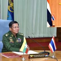 တပ်မတော်ကာကွယ်ရေးဦးစီးချုပ် ဗိုလ်ချုပ်မှူးကြီး မင်းအောင်လှိုင် ထိုင်းဘုရင့်တပ်မတော် ကာကွယ်ရေးဦးစီးချုပ်အား Video Teleconference(VTC) မှတစ်ဆင့် တွေ့ဆုံဆွေးနွေး (ရုပ်သံသတင်း)