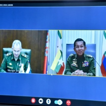 Senior General Min Aung Hlaing meets Defence Minister of Russian Federation through Video Tele Conference (VTC)