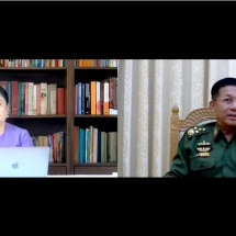Senior General Min Aung Hlaing receives interview with Popular News Journal of Asian Fame Media via video tele conference