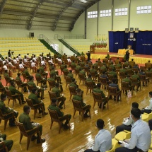 Senior General Min Aung Hlaing meets officers, other ranks and families from Hmawby Station
