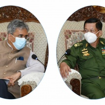Senior General Min Aung Hlaing receives Ambassador of India to Myanmar H.E. Mr. Saurabh Kumar
