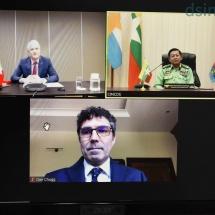 တပ်မတော်ကာကွယ်ရေးဦးစီးချုပ် ဗိုလ်ချုပ်မှူးကြီး မင်းအောင်လှိုင် Joint Peace Fund (ငြိမ်းချမ်းရေးရန်ပုံငွေအဖွဲ့)ဥက္ကဋ္ဌဖြစ်သူ မြန်မာနိုင်ငံဆိုင်ရာ ဆွစ်ဇာလန်နိုင်ငံ သံအမတ်ကြီးအား Virtual Meeting ဖြင့် လက်ခံတွေ့ဆုံဆွေးနွေး (ရုပ်သံသတင်း)