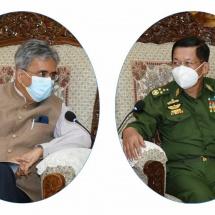 တပ်မတော်ကာကွယ်ရေးဦးစီးချုပ် ဗိုလ်ချုပ်မှူးကြီး မင်းအောင်လှိုင် မြန်မာနိုင်ငံဆိုင်ရာ အိန္ဒိယနိုင်ငံသံအမတ်ကြီး H.E. Mr. Saurabh Kumar အားလက်ခံတွေ့ဆုံ