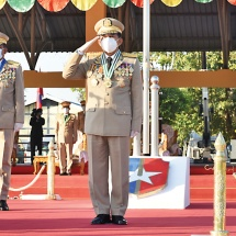 Female military personnel being annually turned out for serving defence duty of the Republic of the Union of Myanmar