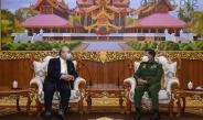 တပ်မတော်ကာကွယ်ရေးဦးစီးချုပ် ဗိုလ်ချုပ်မှူးကြီး မင်းအောင်လှိုင် ဂျပန်-မြန်မာ ချစ်ကြည်ရေးအသင်း ဥက္ကဋ္ဌနှင့် ဂျပန်အထက်လွှတ်တော်အမတ်ဟောင်း Mr. Hideo WATANABE အားလက်ခံတွေ့ဆုံ