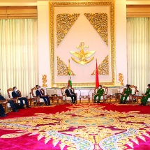 Senior General Min Aung Hlaing receives H.E. Mr. Wang Yi, State Councilor and Foreign Minister of People's Republic of China