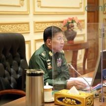 နိုင်ငံတော်စီမံအုပ်ချုပ်ရေးကောင်စီဥက္ကဋ္ဌ၊ တပ်မတော်ကာကွယ်ရေးဦးစီးချုပ် ဗိုလ်ချုပ်မှူးကြီးမင်းအောင်လှိုင် လုံခြုံရေး၊ တည်ငြိမ်အေးချမ်းရေးနှင့် တရားဥပဒေစိုးမိုးရေးကော်မတီ (၁/၂၀၂၁) အစည်းအဝေးသို့ တက်ရောက်အမှာစကားပြောကြား