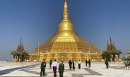 Chairman of State Administration Council Senior General Min Aung Hlaing pays homage to Uppatasanti Pagoda in Nay Pyi Taw