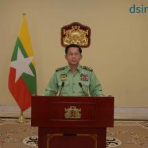 ပြည်ထောင်စုသမ္မတမြန်မာနိုင်ငံတော်၊ နိုင်ငံတော်စီမံအုပ်ချုပ်ရေးကောင်စီ၊ ဥက္ကဋ္ဌ ဗိုလ်ချုပ်မှူးကြီး မင်းအောင်လှိုင်က နိုင်ငံတော်၏အခြေအနေအရပ်ရပ်အား ပြည်သူလူထုသို့ပြောကြားသည့်မိန့်ခွန်း(ရုပ်သံသတင်း)