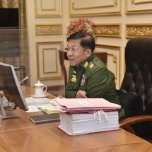 နိုင်ငံတော်စီမံအုပ်ချုပ်ရေးကောင်စီဥက္ကဋ္ဌ၊ တပ်မတော်ကာကွယ်ရေးဦးစီးချုပ် ဗိုလ်ချုပ်မှူးကြီး မင်းအောင်လှိုင် နိုင်ငံတော်စီမံအုပ်ချုပ်ရေးကောင်စီ စီမံခန့်ခွဲရေးကော်မတီအစည်းအဝေး(၃/၂၀၂၁)သို့ တက်ရောက်အမှာစကားပြောကြား (ရုပ်သံသတင်း)