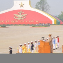Parade of the 76th Anniversary Armed Forces Day held;Chairman of the State Administration Council Commanderin-Chief of Defence Services Senior General Maha Thray Sithu Min Aung Hlaing delivers address