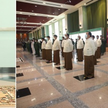 Opening ceremony of commemorative statues of retired commanders-in-chief and commanders-in-chief of Defence Services who performed duty in successive eras held to mark 76th Anniversary of Armed Forces Day