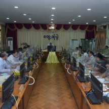 Chairman of State Administration Council Commander-in-Chief of Defence Services Senior General Min Aung Hlaing meets members of Ayeyawady Region Administration Council, departmental staff