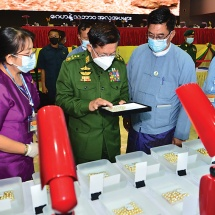 Chairman of State Administration Council Commander-in-Chief of Defence Services Senior General Min Aung Hlaing attends first-day session of the sale of pearl lots and gems- April 2021