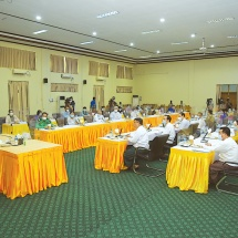 Chairman of State Administration Council Commander-in-Chief of Defence Services Senior General Min Aung Hlaing addresses coordination meeting to extend opening of degree courses on economics and law at universities