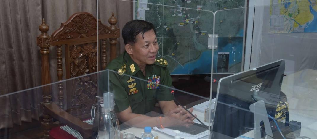 နိုင်ငံတော်စီမံအုပ်ချုပ်ရေးကောင်စီဥက္ကဋ္ဌ၊ တပ်မတော်ကာကွယ်ရေးဦးစီးချုပ် ဗိုလ်ချုပ်မှူးကြီးမင်းအောင်လှိုင် ရန်ကုန်တိုင်းဒေသကြီးစီမံအုပ်ချုပ်ရေးကောင်စီ အဖွဲ့ဝင်များနှင့် ဌာနဆိုင်ရာဝန်ထမ်းများအား တွေ့ဆုံအမှာစကားပြောကြား