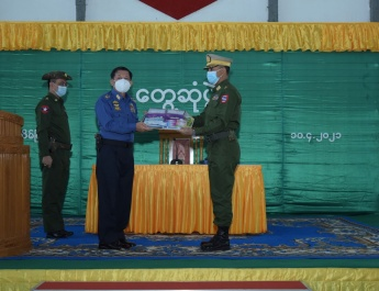 Chairman of State Administration Council Commander-in-Chief of Defence Services Senior General Min Aung Hlaing meets officers, other ranks, families of Pathein Station