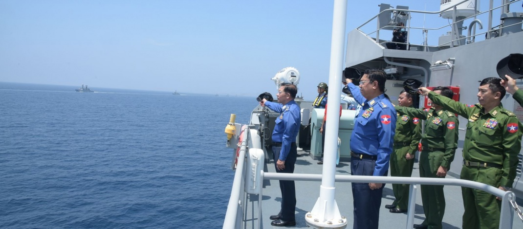 နိုင်ငံတော်ကာကွယ်ရေးစွမ်းပကားမြှင့်တင်ရေးအတွက် တပ်မတော်(ရေ)မှ ရေငုပ်သင်္ဘောစစ်ရေယာဉ်အပါအဝင် စစ်ရေယာဉ်များ၊ ရဟတ်ယာဉ်များဖြင့် စစ်နည်းဗျူဟာအဆင့် ဝေဟင်၊ ရေပြင်၊ ရေအောက် စစ်ဆင်မှုနှင့် ပစ်ခတ်မှု လေ့ကျင့်ခန်း (Three-Dimensional Naval Exercise-Sea Shield 2020) လေ့ကျင့်ဆောင်ရွက်