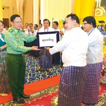 Chairman of State Administration Council Commander-in-Chief of Defence Services Senior General Min Aung Hlaing attends opening ceremony of Yadanabon Hall in Mandalay and inaugurates the facility