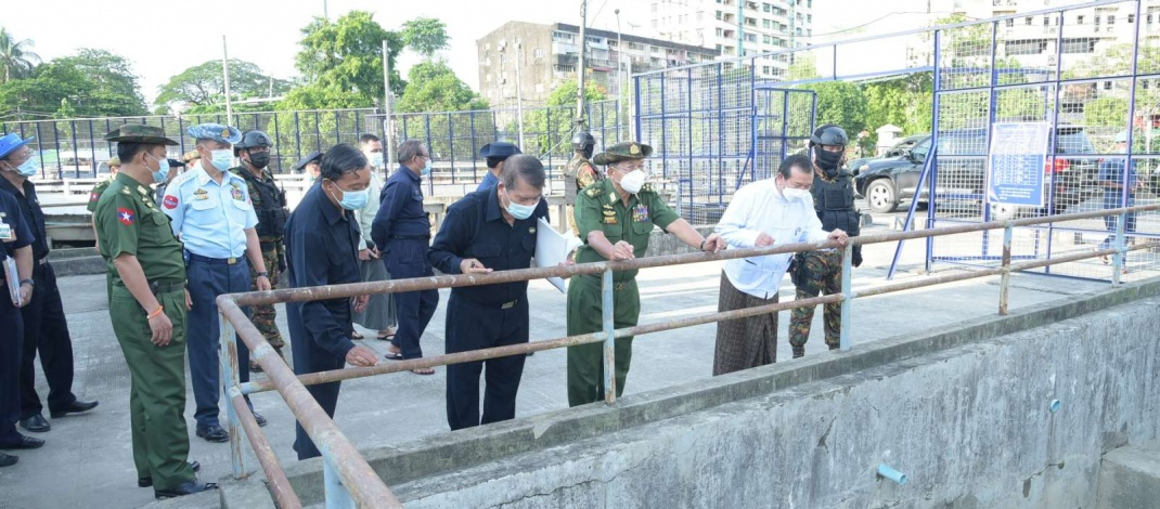 Chairman of State Administration Council Commander-in-Chief of Defence Services Senior General Min Aung Hlaing inspects No 1 Oil Refinery (Thanlyin), development tasks in Yangon Region