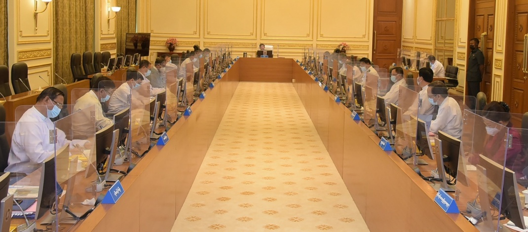 Chairman of State Administration Council Commander-in-Chief of Defence Services Senior General Min Aung Hlaing delivers address at meeting 6/2021 of Management Committee of SAC