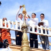 Diamond orb, pennant-shaped vane, golden umbrella hoisted atop Shwedagon Relipca Pagoda with consecration ceremony in conjunction with sharing merits gained for donation of Saddhammajotika Ordination Hall at Myanmar Theravada Buddha Vihara in Moscow
