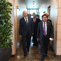 Delegation led by Chairman of State Administration Council Commander-in-Chief of Defence Services Senior General Min Aung Hlaing arrives in Russian Federation
