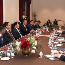 Chairman of State Administration Council Commander-in-Chief of Defence Services Senior General Min Aung Hlaing meets Secretary of Security Council of Russian Federation and Director General of Rosoboronexport Company separately