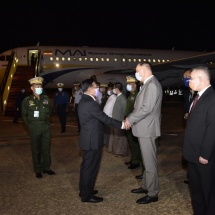 Chairman of State Administration Council Commander-in-Chief of Defence Services Senior General Min Aung Hlaing and party arrive back from Russian Federation