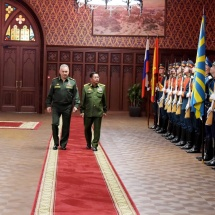 Chairman of State Administration Council Commander-in-Chief of Defence Services Senior General Min Aung Hlaing welcomed by Defence Minister of Russian Federation, discussions held